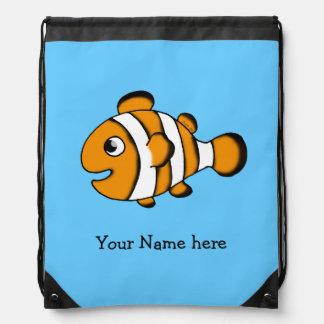 cute clown fish - just add name drawstring bag