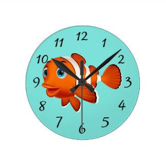 Cute Clown Fish Round Clock