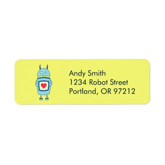 Cute Clumsy Robot With Heart Return Address Label