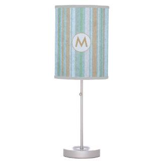 Cute Coastal Stripes Monogram Table Lamp