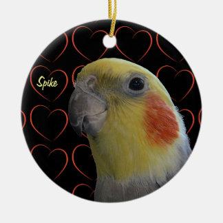 Cute Cockatiel and Hearts Ceramic Ornament