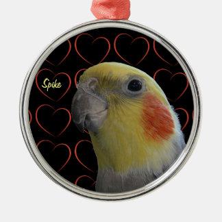 Cute Cockatiel and Hearts Metal Ornament