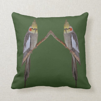 Cute Cockatiel Duo Pillow (Green)