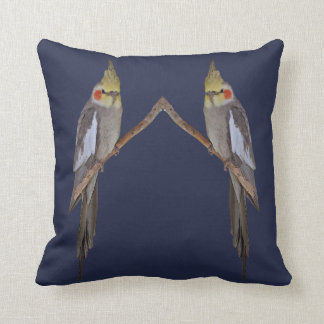 Cute Cockatiel Duo Pillow (Navy)
