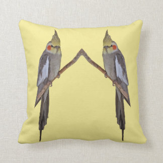 Cute Cockatiel Duo Pillow (Yellow)