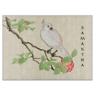 Cute Cockatoo Camellia Branch Glass Cutting Board
