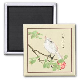 Cute Cockatoo Vintage Japanese Camellia Magnet