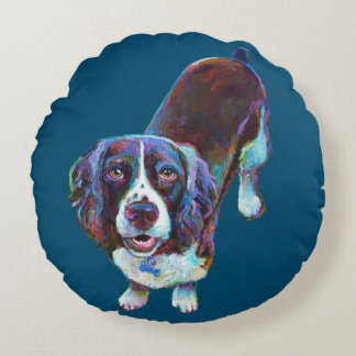 Cute Cocker Spaniel by Robert Phelps Round Pillow