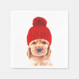 Cute cocker spaniel puppy with cap portrait disposable napkins