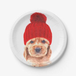 Cute cocker spaniel puppy with cap portrait paper plate