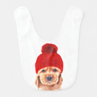 Cute cocker spaniel puppy with hat portrait bib