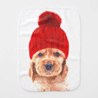 Cute cocker spaniel puppy with hat portrait burp cloth