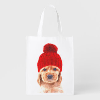 Cute cocker spaniel puppy with hat portrait reusable grocery bag