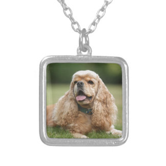 Cute Cocker Spaniel Silver Plated Necklace