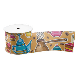 Cute Coffee and Cakes Design Satin Ribbon