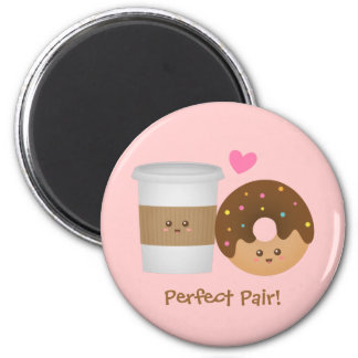 Cute Coffee and Donut in love, Perfect Pair Magnet