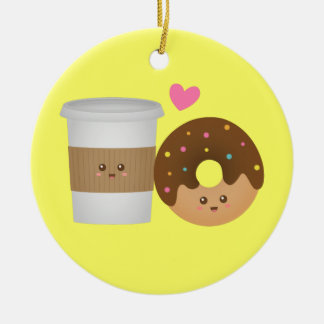 Cute Coffee and Donut in Love, Perfect Pair Round Ceramic Ornament