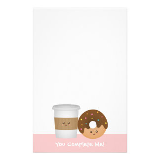Cute Coffee and Donut, You complete me Customized Stationery