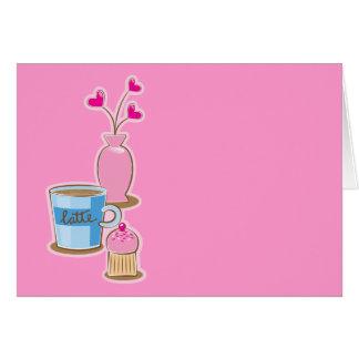 Cute coffee break with latte flowers hearts card