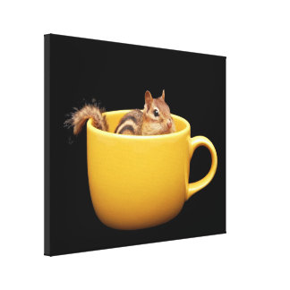 Cute Coffee Cup Chipmunk Canvas Print