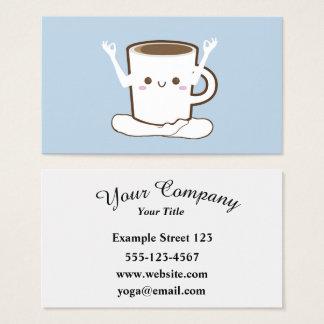 Cute coffee cup doing Yoga Business Card