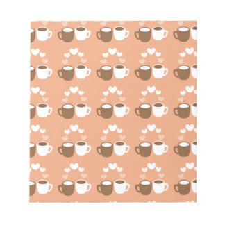 Cute coffee cups on peach love hearts notepad