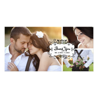 Cute Collage Rustic Wedding Thank You Photo Card
