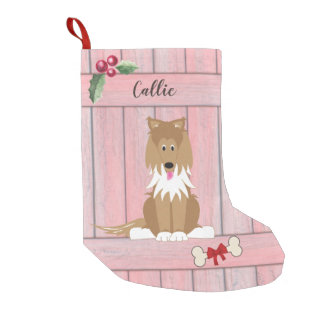 Cute Collie Dog Pink Wooden Fence Monogram Small Christmas Stocking