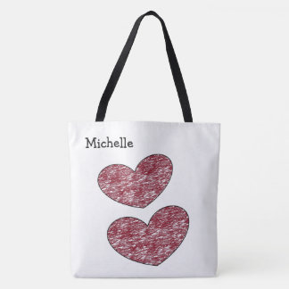 Cute Colored Burgundy Hearts Personalized Tote Bag