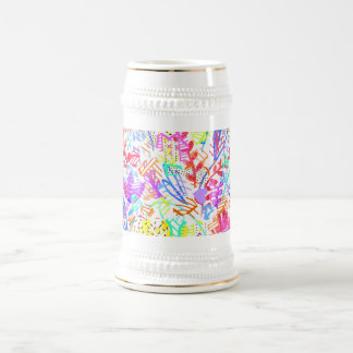 Cute colorful abstract flowers patterns beer stein