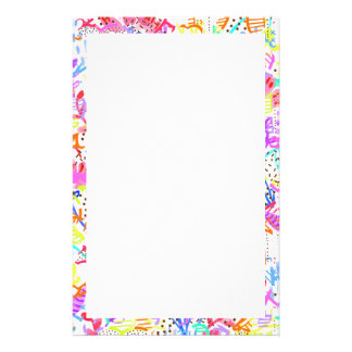 Cute colorful abstract flowers patterns stationery