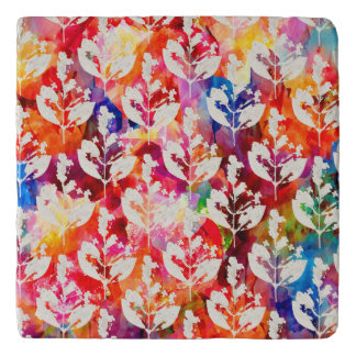 Cute colorful abstract leaves patterns trivet