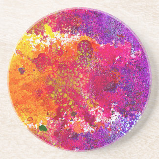 Cute colorful abstract splatter paint coaster