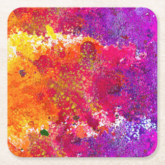Cute colorful abstract splatter paint square paper coaster