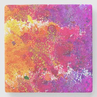 Cute colorful abstract splatter paint stone coaster