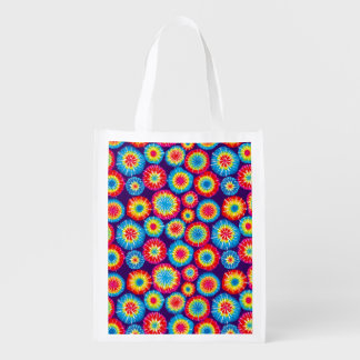 Cute colorful abstract suns patterns reusable grocery bag