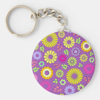 Cute colorful and purple summer flowers keychain