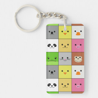 Cute Colorful Animal Face Squares Pattern Design Double-Sided Rectangular Acrylic Keychain
