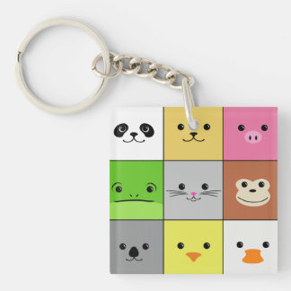 Cute Colorful Animal Face Squares Pattern Design Double-Sided Square Acrylic Keychain
