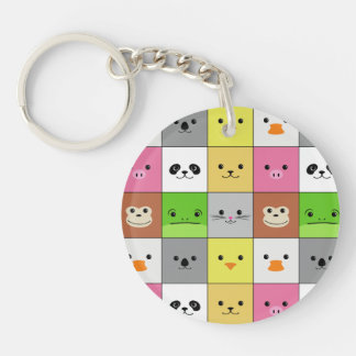 Cute Colorful Animal Face Squares Pattern Design Single-Sided Round Acrylic Keychain