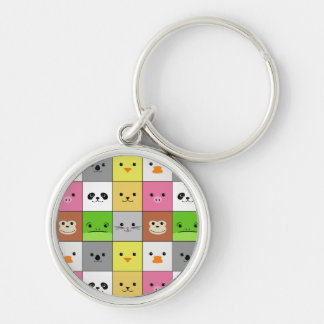 Cute Colorful Animal Face Squares Pattern Design Keychain