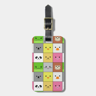 Cute Colorful Animal Face Squares Pattern Design Luggage Tag