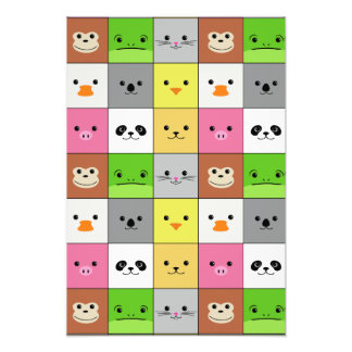 Cute Colorful Animal Face Squares Pattern Design Art Photo