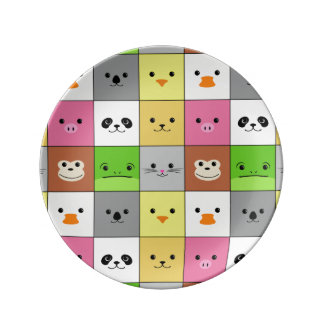 Cute Colorful Animal Face Squares Pattern Design Porcelain Plate