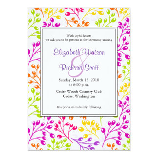 Cute colorful autumn fruits wedding invitation