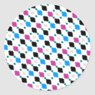 Cute colorful aztec pattern classic round sticker