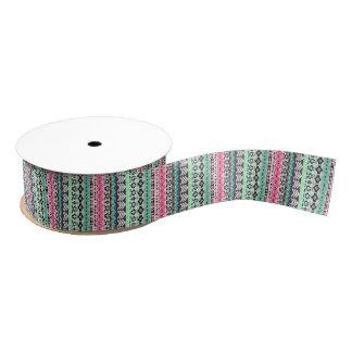Cute colorful aztec patterns design grosgrain ribbon