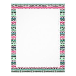 Cute colorful aztec patterns design letterhead