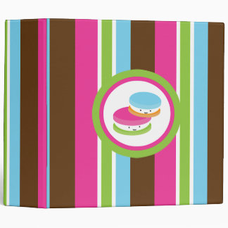 Cute Colorful Bakery Macaroons Fun Stripe Binder