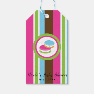 Cute Colorful Bakery Macaroons Fun Stripe Favor Gift Tags
